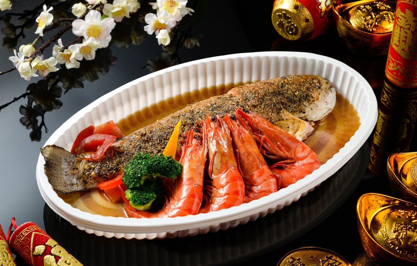 Photo wallpaper food, fish, dish, shrimp, seafood