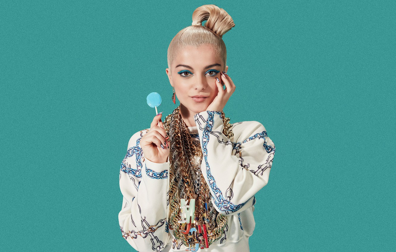 Photo wallpaper look, decoration, pose, background, portrait, makeup, hairstyle, blonde, outfit, singer, American, Chupa Chups, Bebe Rexha, …
