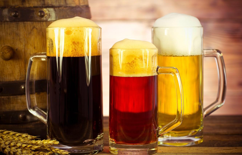 Photo wallpaper foam, beer, three, ears, mugs, bokeh, barrel