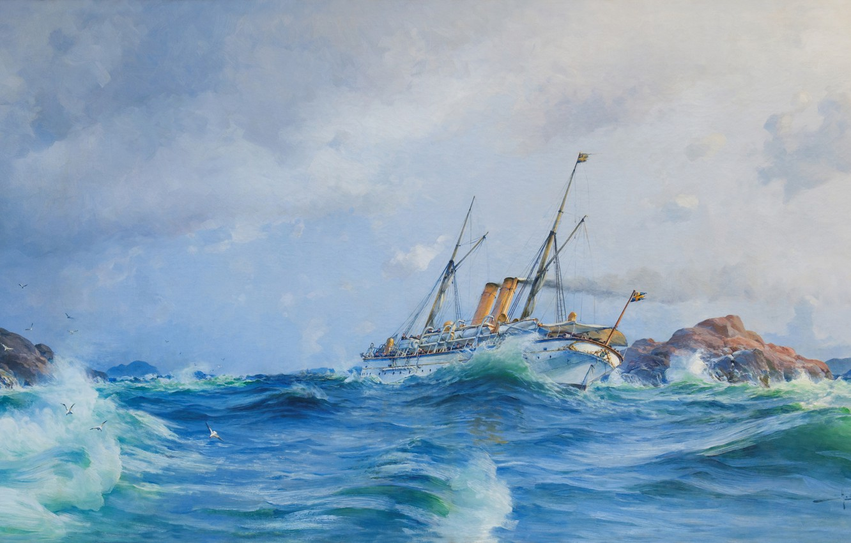 Photo wallpaper the ocean, oil, art, watercolor, artist, pencil, Navy, painting, battleship, gouache, painting painting, Herman Gustav ...