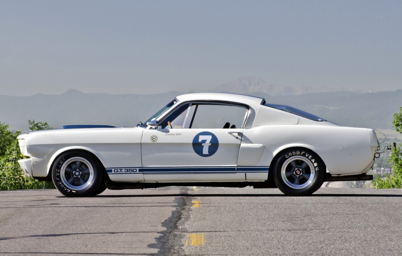 Photo wallpaper Ford Mustang, Classic, 1965, Sexy babe, Shelby GT350R, Old Muscle Car