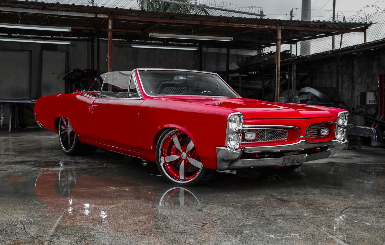 Photo wallpaper car, red, coupe, 1967, Pontiac Gto
