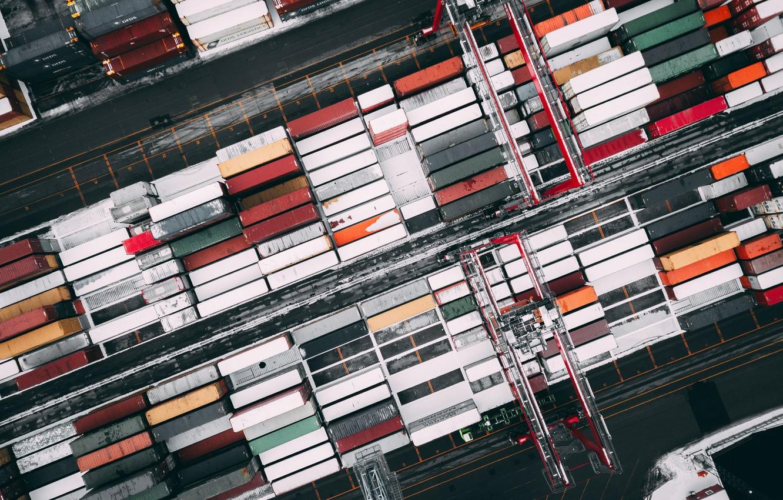 Photo wallpaper Macro, crane, Parking, parking, cargo, Macro, cargo, Container, crane, Container