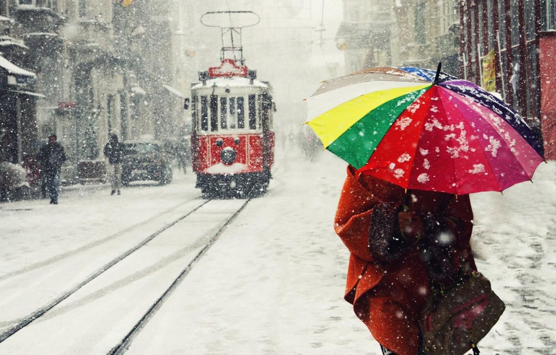 Photo wallpaper Winter, Snow, Umbrella