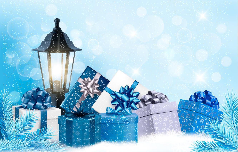 Photo wallpaper snow, holiday, new year, lantern, gifts