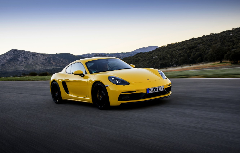 Photo wallpaper yellow, movement, speed, track, Porsche, 2017, 718 Cayman GTS