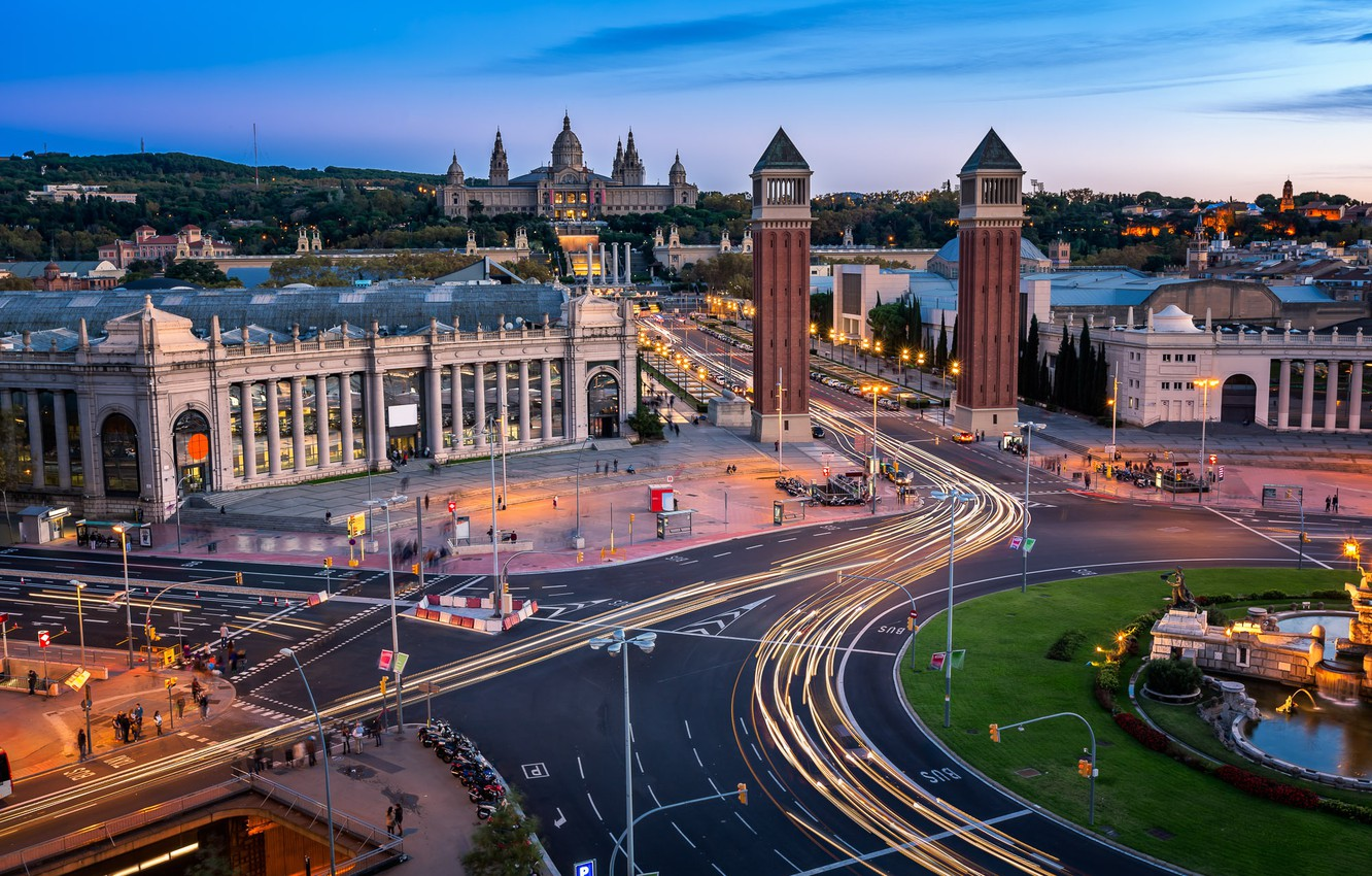 Photo wallpaper road, tower, architecture, Spain, Barcelona