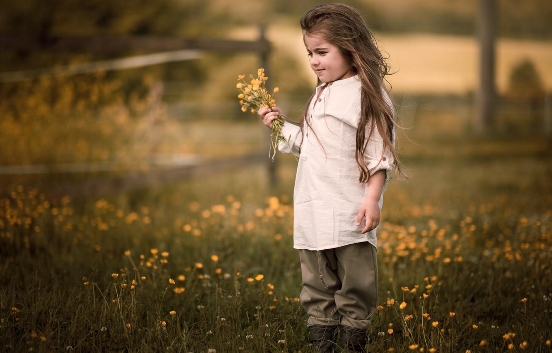 Photo wallpaper summer, flowers, nature, childhood, mood, hair, village, meadow, girl, shirt, is, a bunch, former, village, …