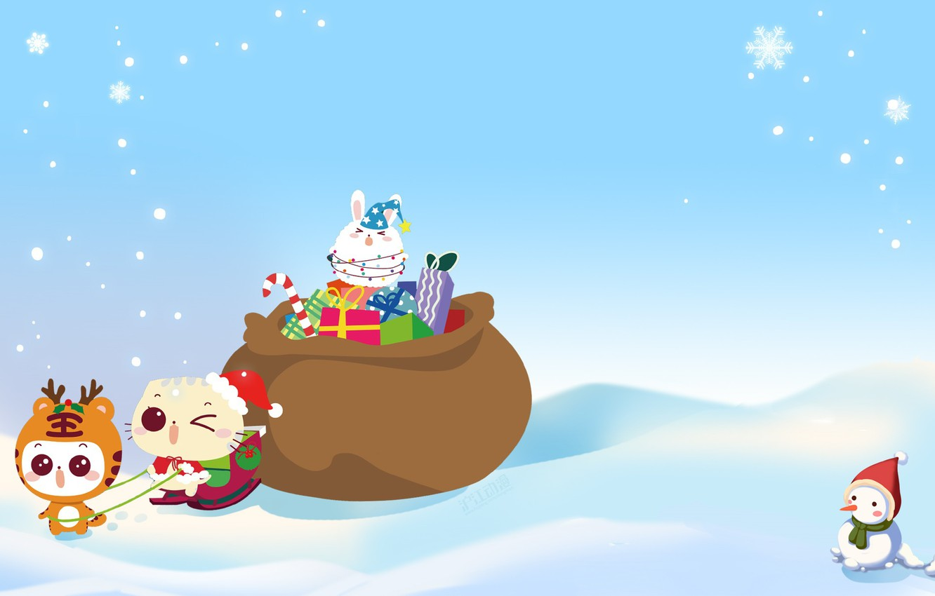 Photo wallpaper winter, holiday, anime, art, gifts, New year, snowman, snowflake