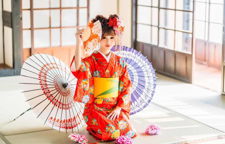 фото китаянок с веерами в кимоно как