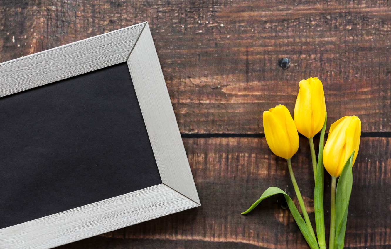 Photo wallpaper flowers, frame, love, March 8, yellow, wood, pink, romantic, tulips, yellow tulips