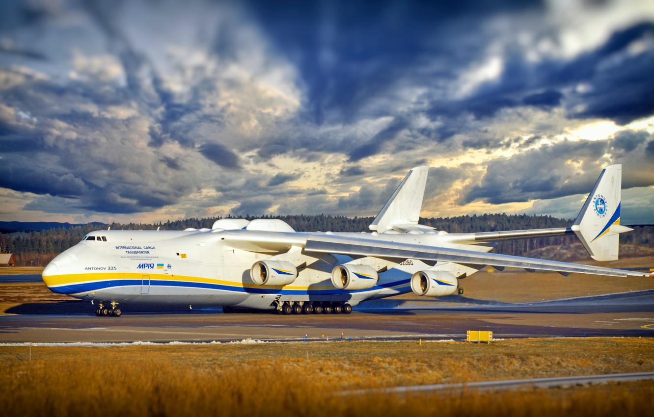 Photo wallpaper The sky, Clouds, The plane, Clouds, Strip, Wings, Engines, Dream, Ukraine, Mriya, The an-225, Airlines, …