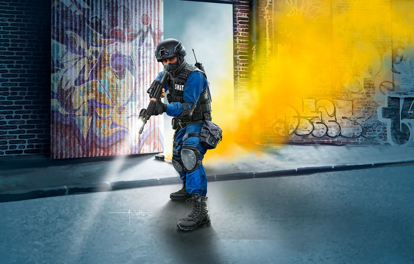 Photo wallpaper USA, SWAT, painting, Officer, M4, tactical vest