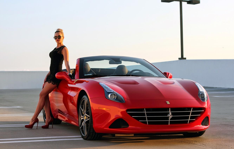 Photo wallpaper girl, Ferrari, supercar, Ferrari, CA, California