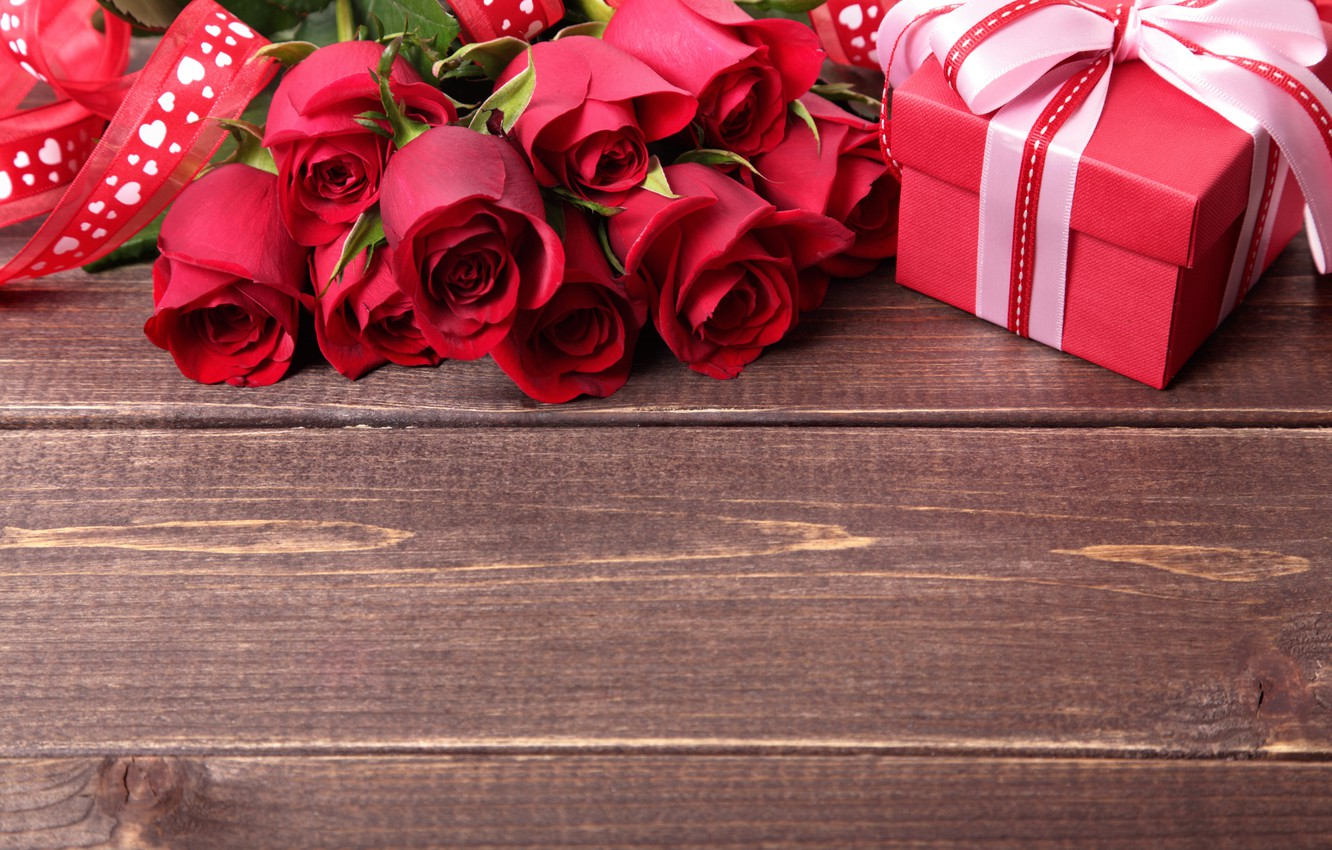 Photo wallpaper gift, romance, roses, colorful, tape, red, bow, beautiful, Valentine's Day, gift, roses, romance, Valentine's day
