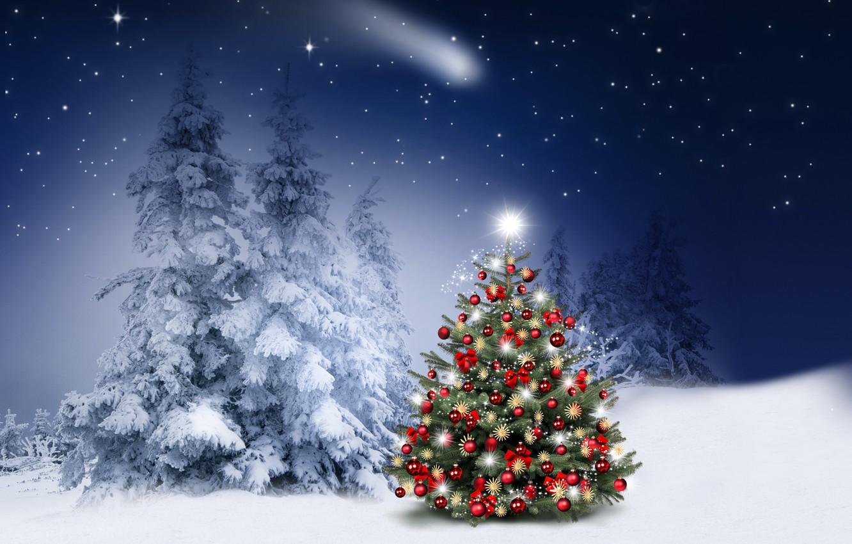 Wallpaper winter, snow, decoration, snowflakes, balls, tree, New