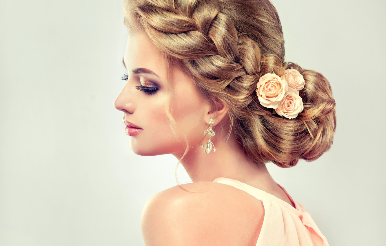 Photo wallpaper girl, eyelashes, hair, roses, makeup, lipstick, hairstyle, shadows, profile, earrings, Sofia Zhuravets'