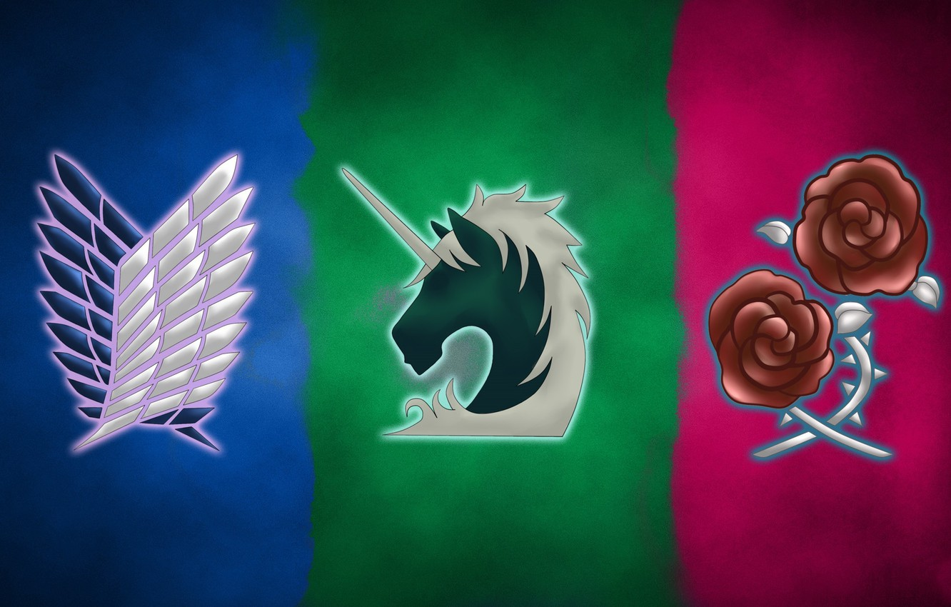 Wallpaper Wallpaper Logo Game Anime Wings Asian Roses Manga Unicorn Japanese Oriental Asiatic Attack On Titan Shingeki No Kyojin Coat Of Arms The Survey Corps Images For Desktop Section Syonen Download