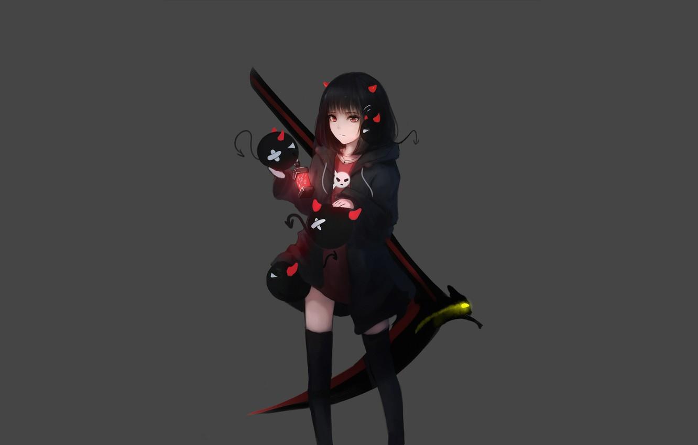 Photo wallpaper girl, background, anime, devils
