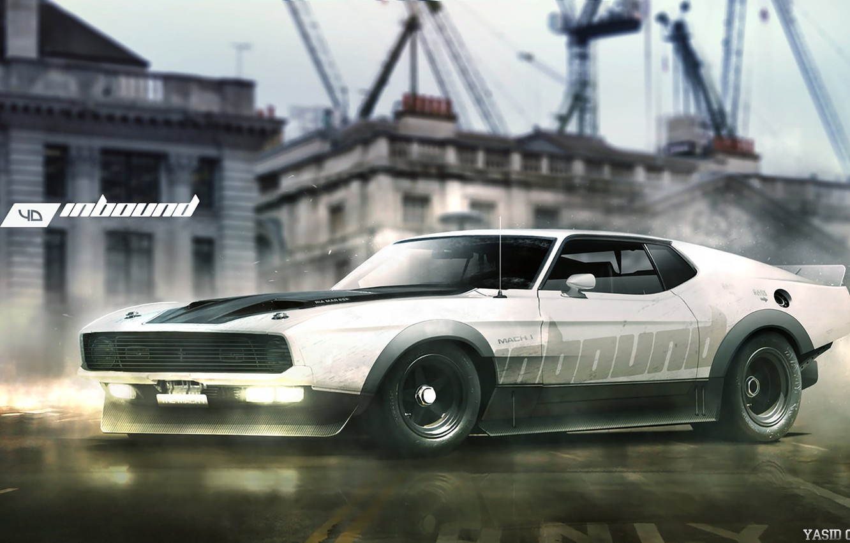 Photo wallpaper Mustang, Ford, Auto, White, Machine, Ford Mustang, Art, Rendering, Mach 1, Yasid Design, Yasid Oozeear, …