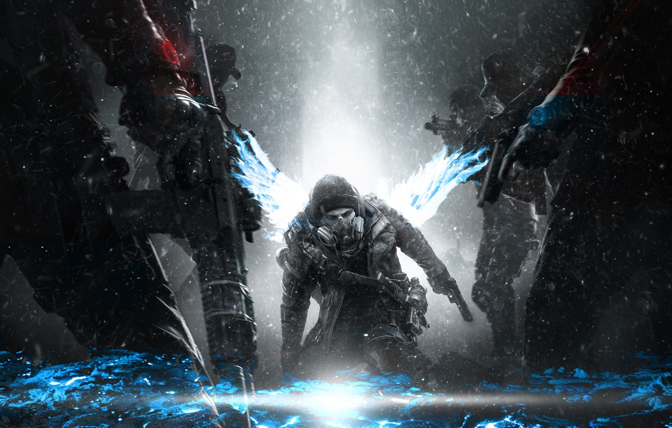 Photo wallpaper snow, game, weapons, war, victory, clothing, the game, people, wings, glow, warrior, costume, war, steam, …