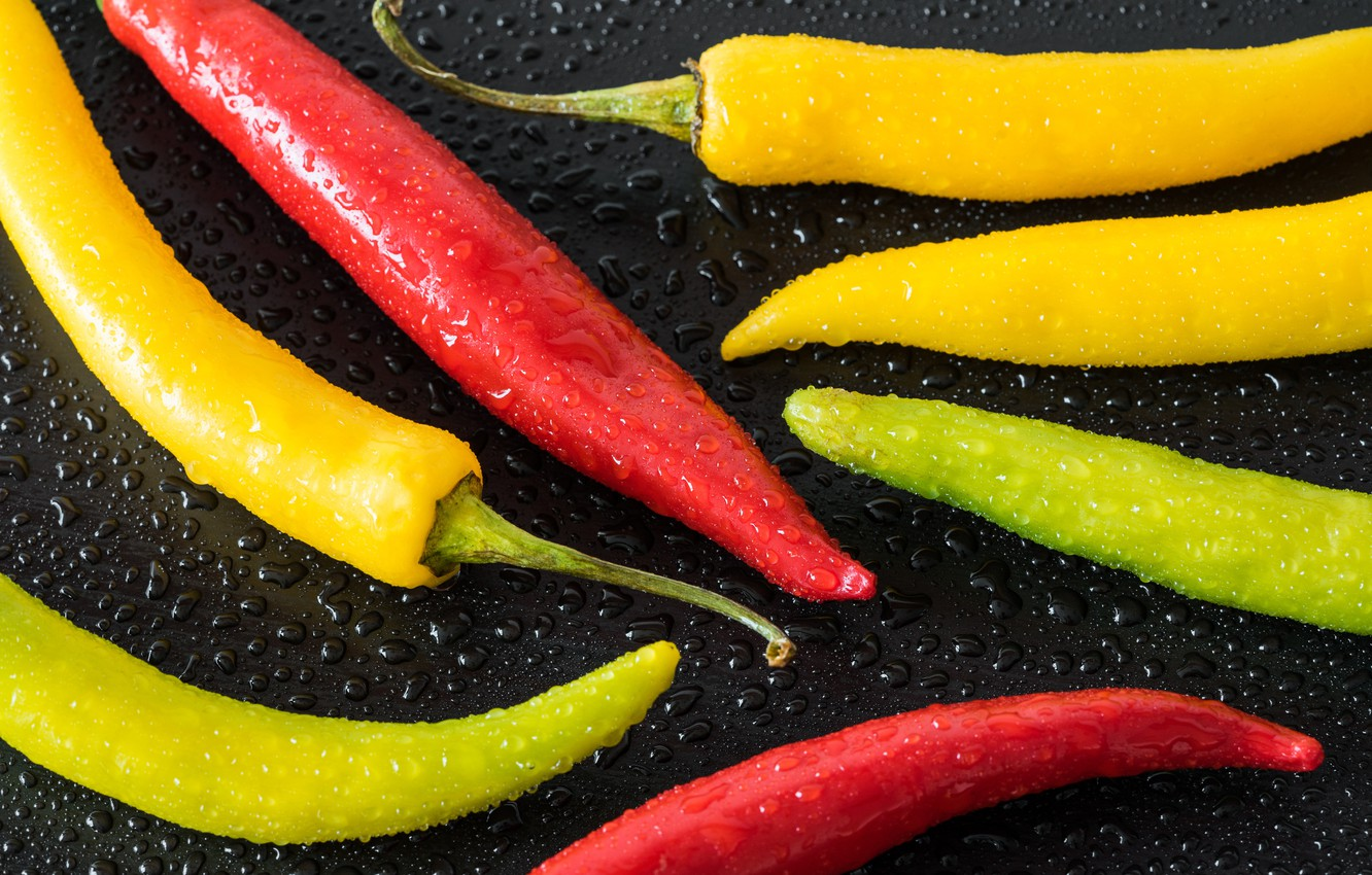 Photo wallpaper drops, yellow, red, pepper