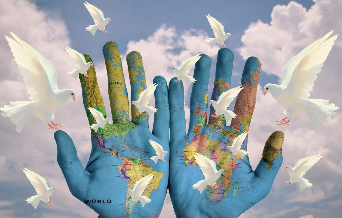 Photo wallpaper clouds, the world, calm, map, pigeons, palm, no wars
