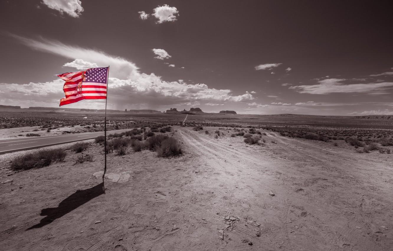 Photo wallpaper flag, Monument Valley, Uta, Forrest Gump Point