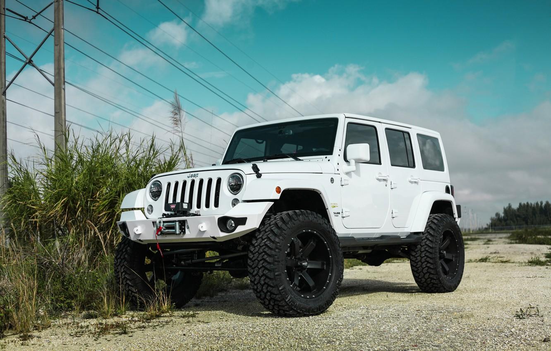 Photo wallpaper Black, White, Wrangler, Jeep, Wheels