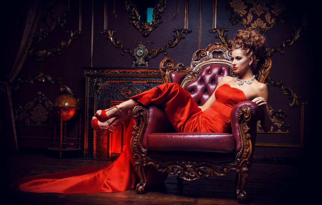 Photo wallpaper girl, pose, interior, necklace, makeup, dress, hairstyle, shoes, brown hair, beautiful, sitting, in red, in …