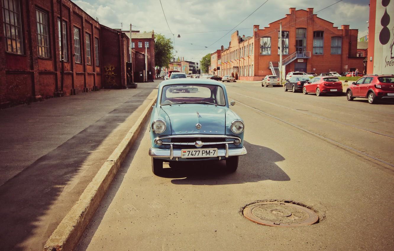 Photo wallpaper machine, street, Moskvich 407