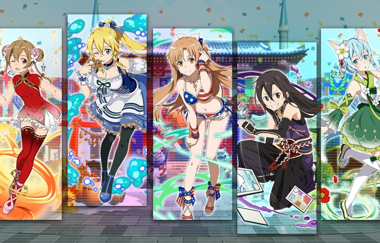 Photo wallpaper girls, collage, anime, art, Sword Art Online
