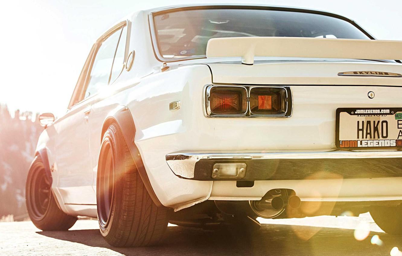Photo wallpaper Auto, Machine, Nissan, Nissan, Lights, Car, 2000, Skyline, Nissan Skyline, 1972, 2000GT, Japanese, Back, 2000GT-R, …