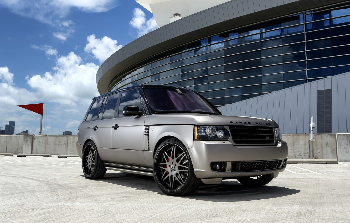 Photo wallpaper Range Rover, grey, with, matte, wrap, customized
