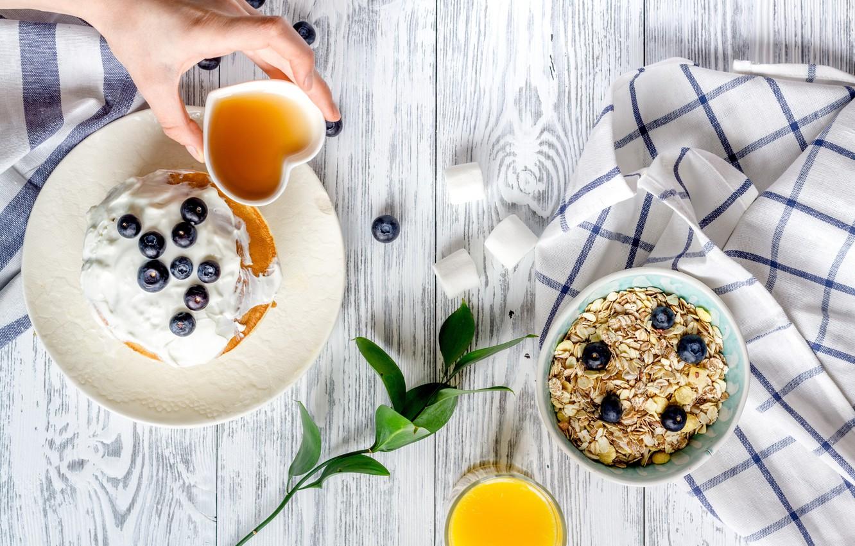 Photo wallpaper berries, Breakfast, juice, pancakes, breakfast, muesli, pancakes, sour cream