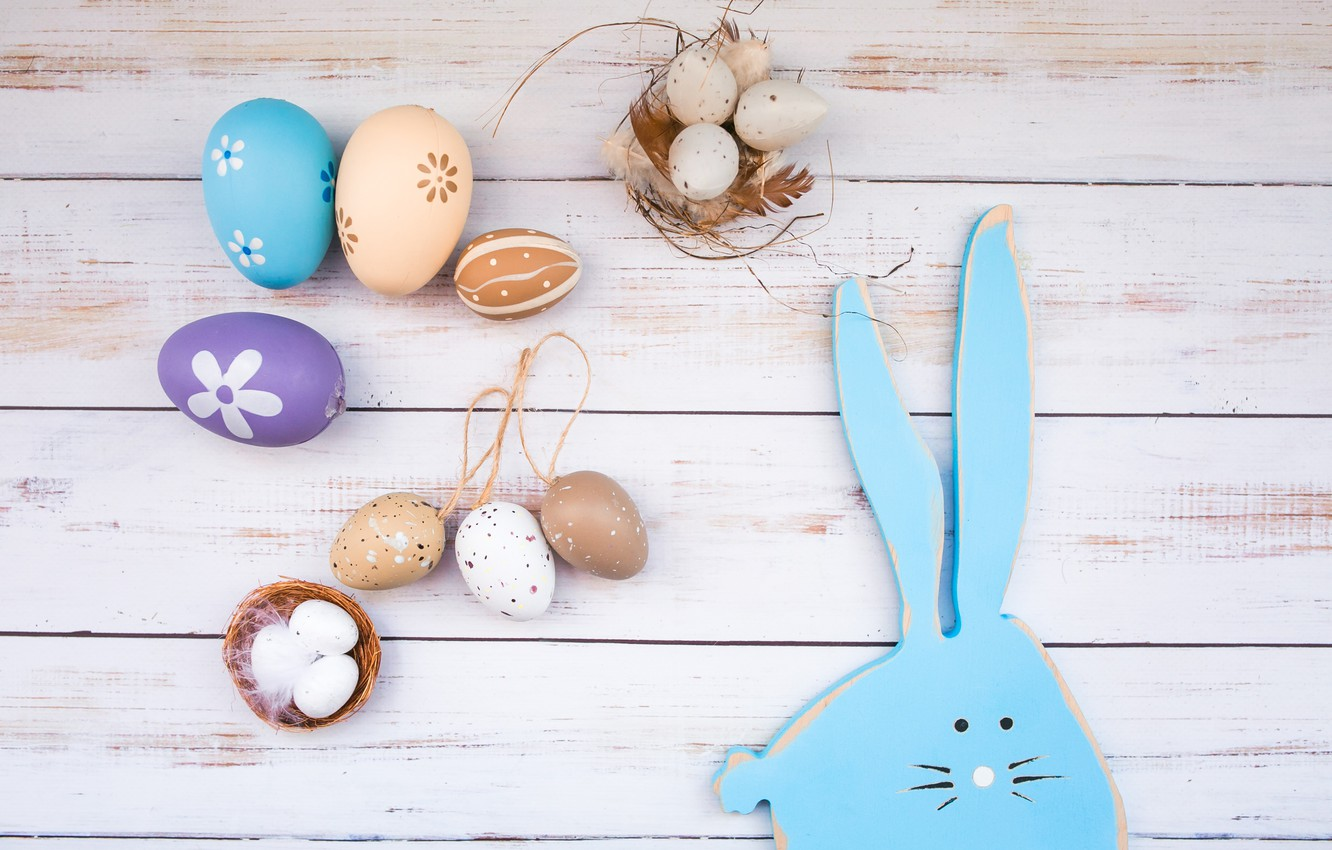 Photo wallpaper eggs, Easter, wood, spring, Easter, eggs, bunny, decoration, Happy, tender