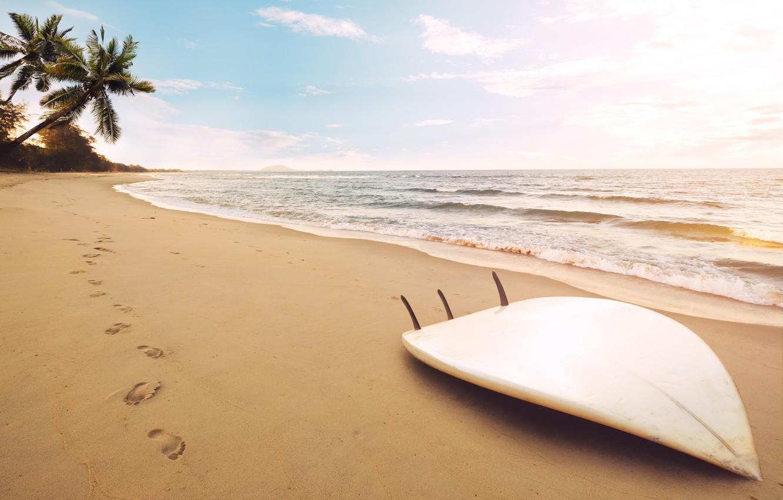 Photo wallpaper sand, sea, wave, beach, summer, the sky, traces, palm trees, shore, summer, beach, surf, sea, …