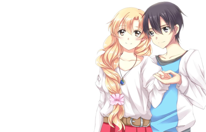Photo wallpaper anime, art, pair, two, Sword art online, Sword Art Online, Asuna, Kirito