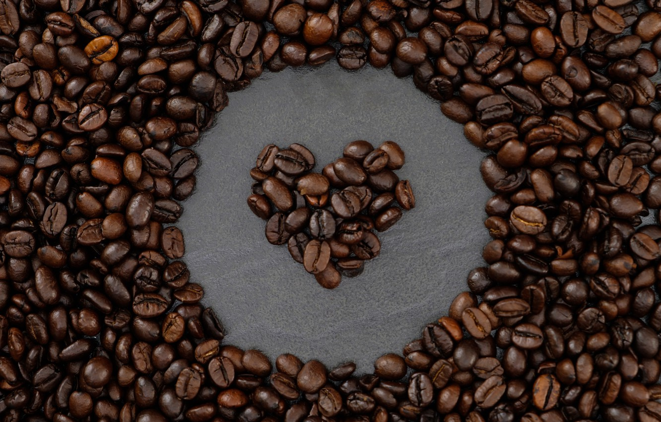 Photo wallpaper background, heart, coffee, grain, love, heart, texture, background, beans, coffee, roasted