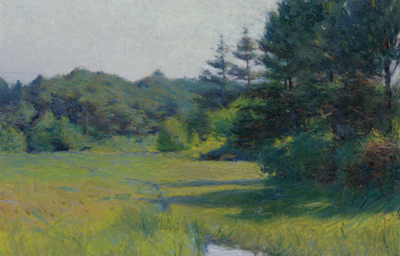 Photo wallpaper landscape, picture, River Scene, Frank Weston Benson, Frank Benson