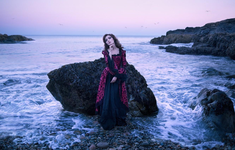 Photo wallpaper sea, girl, stones, mood, rocks, dress
