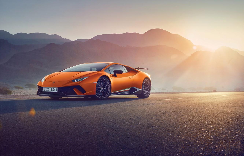 Photo wallpaper Lamborghini, Orange, Sun, Supercar, Huracan, Perfomante