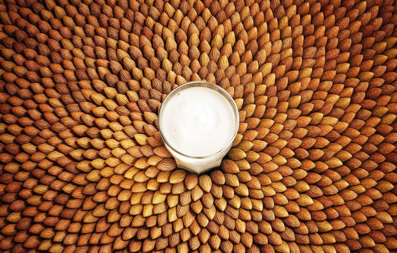 Photo wallpaper glass, food, texture, milk, art, nuts, almonds, Lightfarm Studios, Seeds