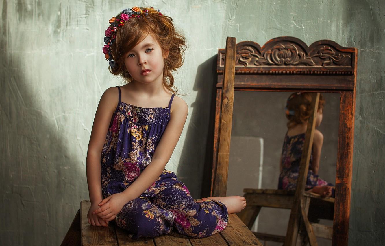 Photo wallpaper flowers, mirror, girl, brown hair, wreath, child, curls, sundress, stool