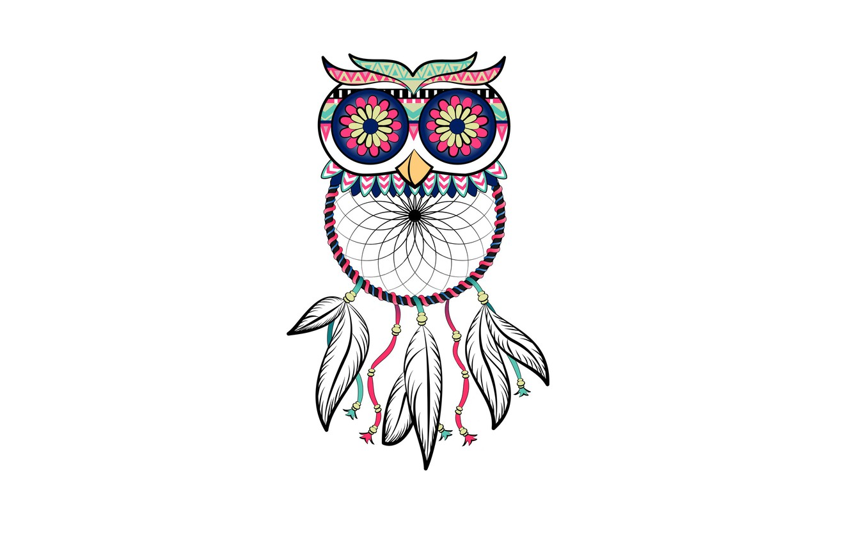 Photo wallpaper owl, bird, minimalism, feathers, light background, owl, Dreamcatcher, dreamcatcher, dream catcher