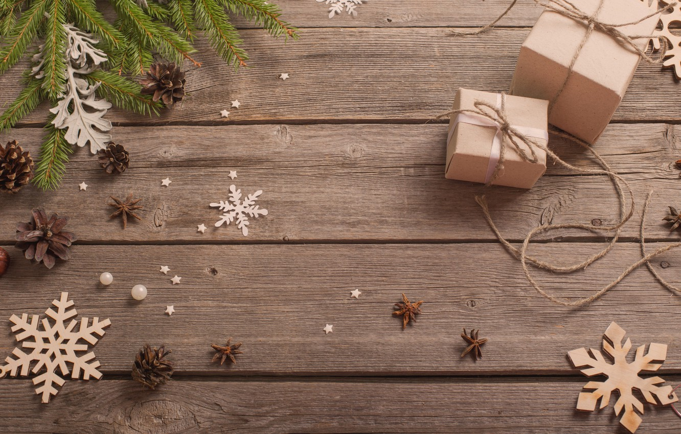 Photo wallpaper snowflakes, new year, gifts, bumps, fir-tree branches