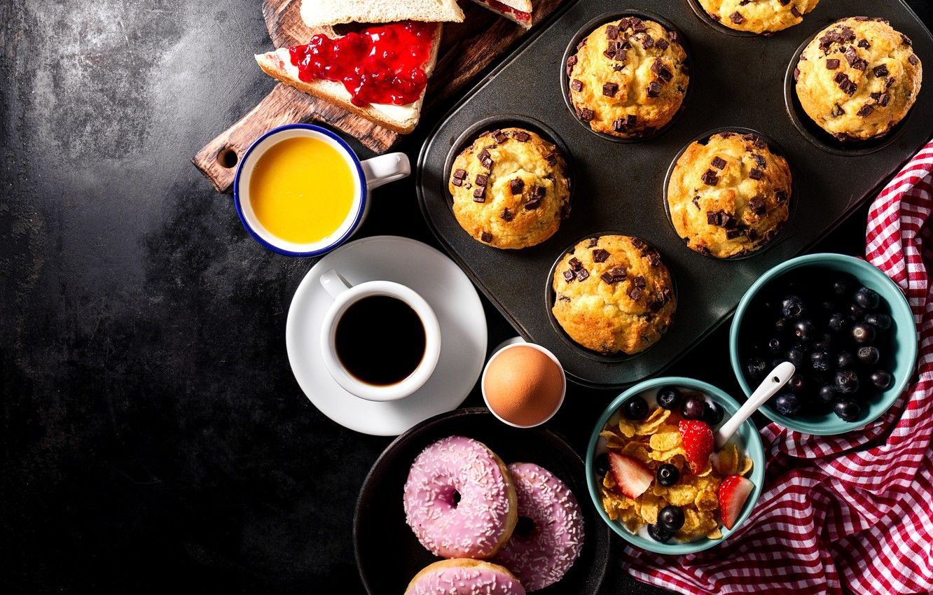 Photo wallpaper egg, coffee, Breakfast, sweets, donuts, cakes, cereal, cupcakes, sandwiches
