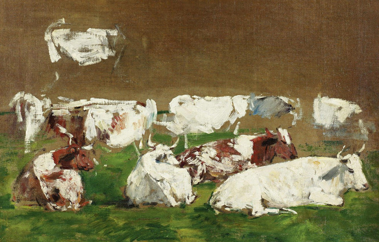 Photo wallpaper animals, picture, Cows, Eugene Boudin, Eugene Boudin