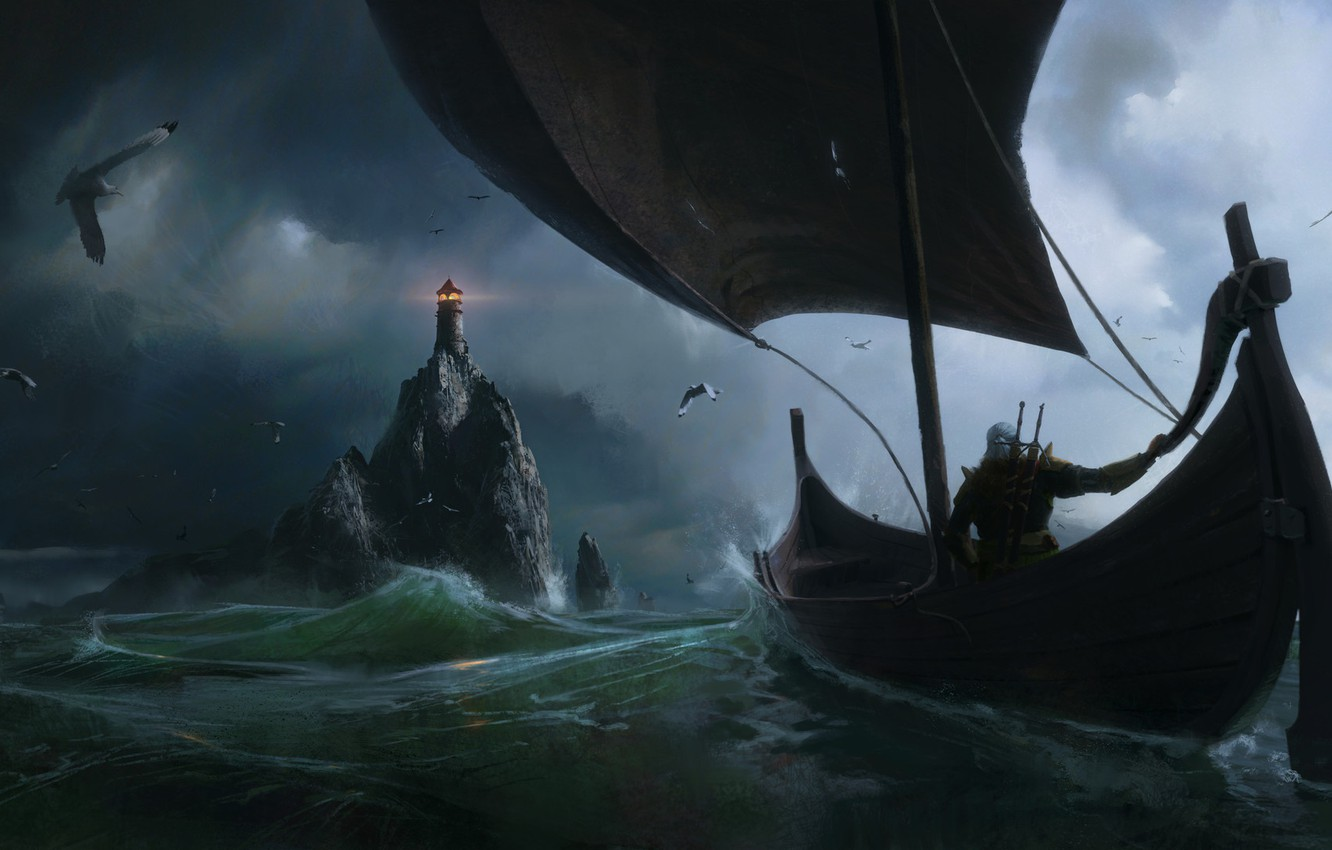 Photo wallpaper the witcher, Fantasy, Games, sea, art, boat, lighthouse, Painting, Jeremy Paillotin
