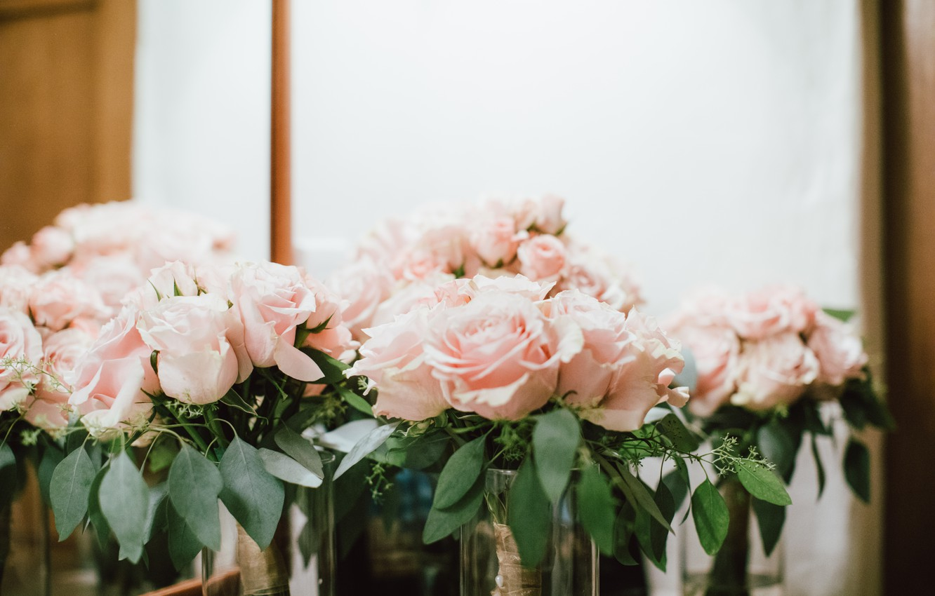 Photo wallpaper flowers, roses, pink, a lot